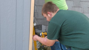 Cayson working construction.